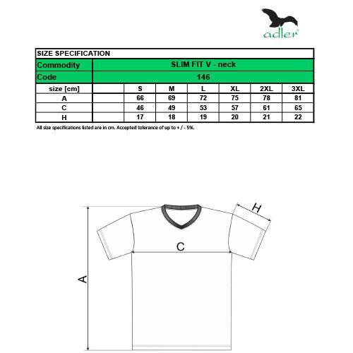 Adler férfi póló - Slim Fit - V kivágással - 146