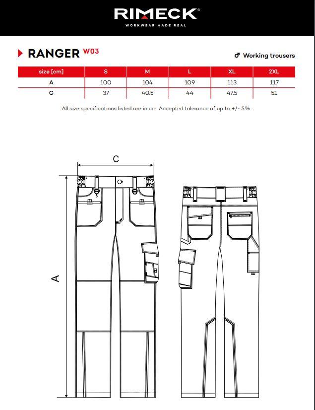 Rimeck Munkaruhanadrág férfi - RANGER - W03 - több méretben